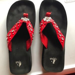 Corky wedge sandals in red